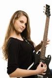 Muchacha del adolescente que toca la guitarra Imagenes de archivo