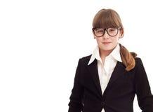 Muchacha del adolescente vestida como empresaria Fotos de archivo libres de regalías