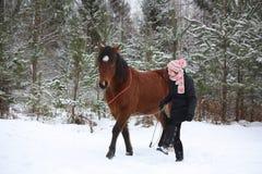 Muchacha del adolescente y caballo marrón que caminan a través del togethe del bosque Foto de archivo libre de regalías