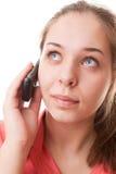 Muchacha del adolescente y teléfono móvil Foto de archivo