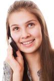 Muchacha del adolescente y teléfono móvil Fotografía de archivo libre de regalías