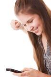 Muchacha del adolescente y teléfono móvil Fotografía de archivo