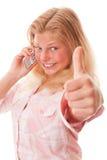 Muchacha del adolescente y teléfono móvil Foto de archivo libre de regalías
