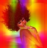 Muchacha del Afro, fondo abstracto Fotografía de archivo