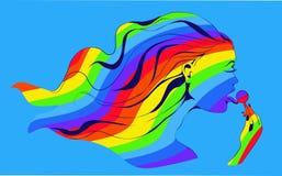 Muchacha del arco iris con la piruleta Imagen de archivo