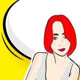 Muchacha del arte pop con discurso ilustración del vector