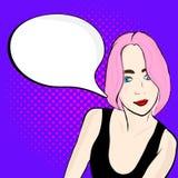 Muchacha del arte pop con discurso stock de ilustración
