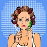 Muchacha del arte pop con el griterío del teléfono libre illustration