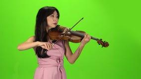 Muchacha del aspecto asiático que toca el violín Pantalla verde almacen de video