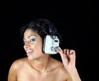 Muchacha del auricular Imágenes de archivo libres de regalías
