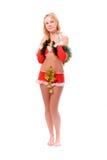 Muchacha del ayudante de Santa con las alarmas de la Navidad Foto de archivo libre de regalías