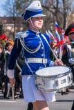 Muchacha del batería en el desfile de Victory Day Imagen de archivo libre de regalías