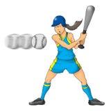 Muchacha del beísbol con pelota blanda Imagenes de archivo