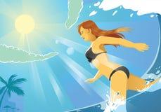 Muchacha del bikini que corre en la playa Foto de archivo