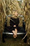 Muchacha del campo de maíz Imagen de archivo libre de regalías