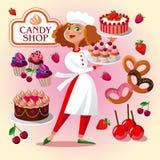 Muchacha del cocinero de pasteles en la tienda de pasteles Fotos de archivo libres de regalías