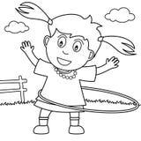 Muchacha del colorante que juega el aro de Hula en el parque ilustración del vector