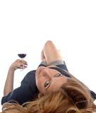 Muchacha del consumo de vino Imagen de archivo