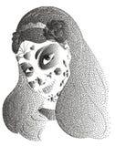 Muchacha del cráneo del azúcar de Dia de los Muertos con las rosas para el día de los muertos ilustración del vector