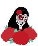 Muchacha del cráneo del azúcar de Dia de los Muertos con las rosas para el día de los muertos stock de ilustración