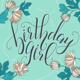 Muchacha del cumpleaños de la cita de la escritura de la caligrafía del vector Sig de la tarjeta de felicitación Imagen de archivo libre de regalías