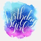 Muchacha del cumpleaños de la cita de la escritura de la caligrafía del vector Vector manuscrito de la tipografía de las letras d Imagen de archivo