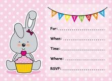 Muchacha del cumpleaños de la tarjeta de la invitación Imágenes de archivo libres de regalías