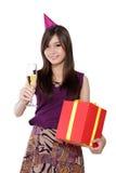 Muchacha del cumpleaños lista para ir de fiesta, en blanco Fotografía de archivo libre de regalías