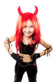 Muchacha del diablo. Traje del carnaval de los diablos. Fotografía de archivo