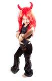 Muchacha del diablo. Traje del carnaval de los diablos. Imágenes de archivo libres de regalías