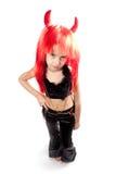 Muchacha del diablo. Traje del carnaval de los diablos. Aislado. Fotos de archivo libres de regalías