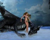 Muchacha del dragón Stock de ilustración