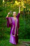 Muchacha del duende con una espada Fotografía de archivo libre de regalías