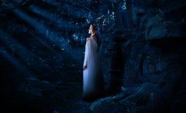Muchacha del duende en la versión del bosque de la noche imagen de archivo