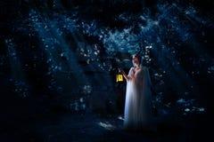 Muchacha del duende en la versión del bosque de la noche imagenes de archivo