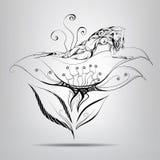 Muchacha del duende que miente en flor. Ejemplo del vector Foto de archivo libre de regalías