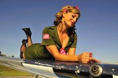Muchacha del ejército de la aviación Foto de archivo