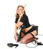 Muchacha del eje de balancín que abraza la guitarra Imagen de archivo