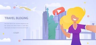 Muchacha del ejemplo que filma el nuevo viaje video Bloging stock de ilustración
