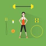 Muchacha del entrenamiento del ejercicio de la mujer de la aptitud del deporte plana Fotos de archivo libres de regalías