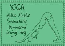 Muchacha del esquema en actitud boca abajo de la yoga del perro Imágenes de archivo libres de regalías