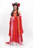 Muchacha del estilo chino de Asia en bailarín tradicional rojo del vestido Foto de archivo libre de regalías