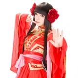Muchacha del estilo chino de Asia en bailarín tradicional rojo del vestido Foto de archivo