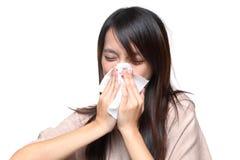 Muchacha del estornudo Imagenes de archivo