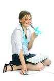Muchacha del estudiante antes del examen Imagenes de archivo