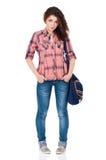 Muchacha del estudiante con el bolso Imagen de archivo libre de regalías