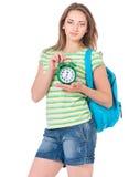 Muchacha del estudiante con la mochila Imágenes de archivo libres de regalías