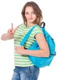 Muchacha del estudiante con la mochila Fotografía de archivo