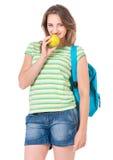 Muchacha del estudiante con la mochila Imagen de archivo