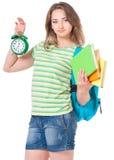 Muchacha del estudiante con la mochila Fotografía de archivo libre de regalías